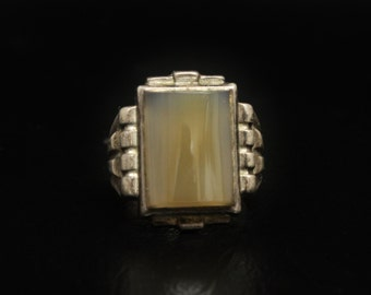 Uncas Art Deco Ring Sterling Agate Ring Size 7.5