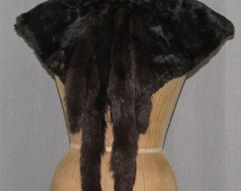 Victorian Black Fur Capelet with Fur Tails High Collar Vintage 1880s Cape Collar Victorian Clothing
