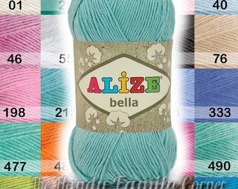 Wholesale yarns: Set of 5 skeins Alize Bella. Cotton Baby Yarn. Light Weight. Hypoallergenic yarn. Baby crochet. Color variations. DSH