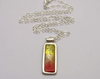 Silver Leaf Necklace, Bright Autumn Colors, Red Orange Yellow, Handmade Silver Jewelry, Resin Jewelry, Fall Colors, Necklace and Earrings