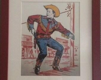 Embellished Roy Rogers cowboy print in frame