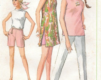 Bust 36-1968 Mini-Dress or Blouse With Pants Size 14 Simplicity 7591