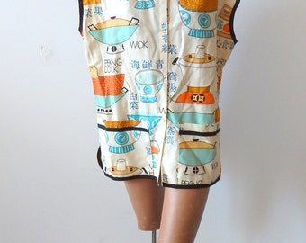 "1960s Tunic Cover-up ""Wok Talk"" Novelty Print Fabric"