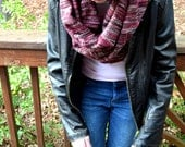 Sweater Scarf Chunky Scarf Infinity Scarf Neck Warmer Extra Long Scarf Circle Scarf Burgundy Red Brown and Pink Winter Scarf