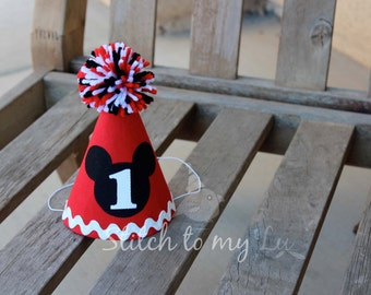 Mickey Mouse Birthday Hat Red Black White First Birthday Party 1st Birthday Outfit Little Man