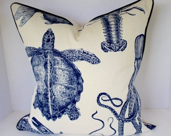 Oceania Indigo Sealife Thomas Paul Pillow Cover and Valance