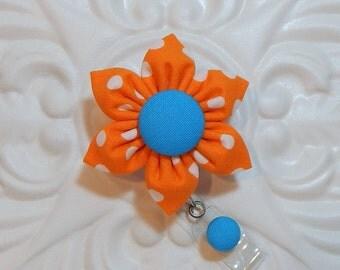 Retractable Badge Holder - Id Badge Reel - Badge Holder - Teacher Lanyard - Orange Polka Dot