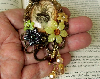 Victorian Brooch (P619) Victorian Octopus Girl Image Under Glass Cameo, Acrylic Florals, Swarovski Crystals, Brass Tray, Crystal Dangles