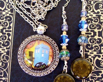 TARDIS Earrings and Necklace Set (E524) - Doctor Who Dangle Drop Earrings and Steampunk TARDIS Pendant - Crystals and Silver Hardware