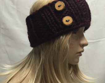 Knit Headband Ribbed Dark Red Burgundy Cranberry With Wood Buttons Warm And Cozy