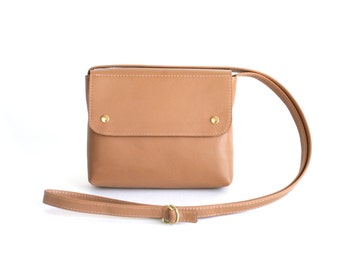 Crossbody Purse Leather Caramel Brown, light brown satchel bag, small crossbody bag