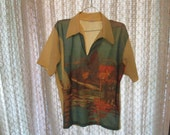 60s Surfer Beach Bum Mod Shirt Pullover David Homsan Large XL Hipster Shirt