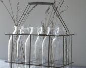 Vintage Bottle Carrier with Bottles