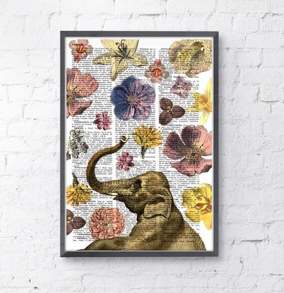 Christmas Sale Elephant in love shower of flowers- Elephant art print- Elephant decor ANI231