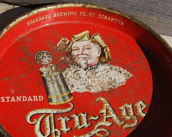 Vintage Standard Tru-Age Beer Serving Tray, Retro Barware