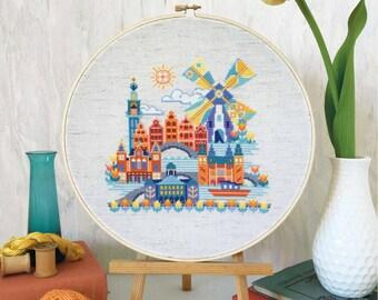 Pretty Little Amsterdam : Satsuma Street Jody Rice counted cross stitch patterns embroidery wall art
