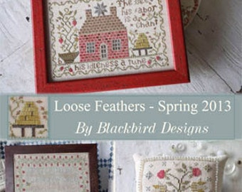 Agnes Platt's Strawberry Sampler : Loose Feathers Blackbird Designs cross stitch patterns hand embroidery