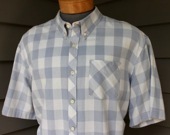 newer vintage -L.L. Bean- Men's 3 button collar, short sleeve shirt. Retro styling. Grey check - All Cotton. 2 Extra Large -  XXL