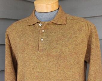 vintage 1960's  Men's long sleeve polo sweater. Brindle effect - Gold /Olive / Russet. Saddle shoulder - No side seams. Medium 40 +