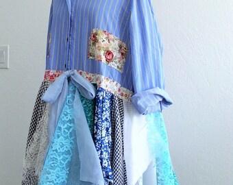 Sale 30% off Bohemian Duster Jacket. Art To Wear Embellished Dress Shirt