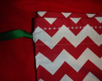 "Red & White Chevron Cloth Gift Bag - 21"" x 18"" (From the Ribbon Down) - Never Buy Gift Wrap Again"
