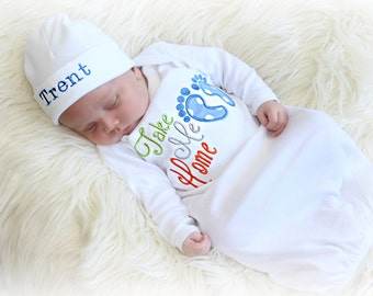 Newborn Boy Coming Home Outfit Baby Boy Hospital Outfit Take Me Home Newborn Baby Gift Baby Boy Clothes Personalized Newborn hat