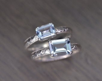 Aquamarine Ring, all sizes, emerald cut silver milgrain solitaire, March Birthstone - Fitz Ring