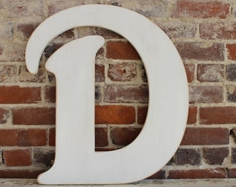"""24"""" Wooden Letter D, Elegant Font in Distressed White - all letters available in many colors"""