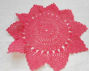 Doily, Vintage, Crocheted,  Hand-Dyed Fuchsia