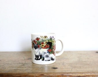 Cat Coffee Mug Drawing Illustration Kitty Kitten Siamese Cat All Over Print Right Handed Left Handed Floral Butterfly Butterflies