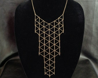 Geometric bib necklace, minimalist statement antique brass tone geo bib necklace