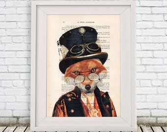 Burlesque Fox Print, Woodlands Decor, Steampunk Animal, Fox with Spectacles, Gift for Men, Wall Art Prints, Fox Wall Art, special Artwork