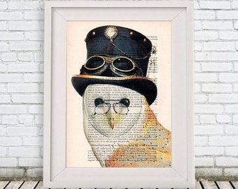 Burlesque Owl Art Print, Bird with a Hat, Steampunk Owl, Human Animal, Wall Art Prints, Burlesque Wall Art, Burlesque Christmas Gift