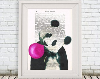 Panda acrylic painting print Original Drawing Giclee Posters digital Mixed Media Art Holiday Decor Gifts panda illustration