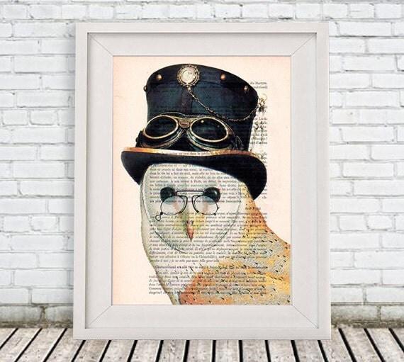 Burlesque Owl Art Print, Bird with a Hat, Steampunk Owl, Human Animal, Wall Art Prints, Burlesque Wall Art, Burlesque Christmas Gift