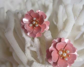 Pretty Pink Open Peony Flower Stud Earrings