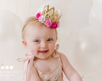 Ready to Ship || MINI Sienna with multi pink flowers||  gold lace crown headband ||
