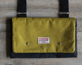 Waxed canvas bag - Harris Tweed - Canvas bag - shoulder bag - canvas bags - tote bag - acid green - gift for mum - Mothers day