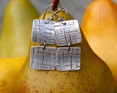 Silver Square Earrings -- Hand Cut, Hammered, Textured, Oxidized Fine Silver (.999 pure) Organic Double Square Earrings.