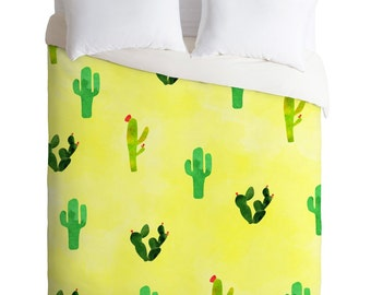 Cactus Cacti duvet cover watercolor pattern bedding set, lemon yellow green cactus home decor, Birthday gift for daughter dorm decor bedding