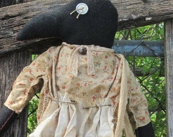 CROW DOLL OOAK Made To Order Hand Stitched with a Gathering bag Crow Pin Apron designed by thebagglady76