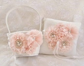 Blush Flower Girl Baskets, Two Hand Dyed Blush Flower Girl Baskets and Ring Pillow, Ring Bearer Pillow,  Flower Girl Basket Set