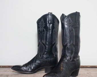 8.5 M | Women's Dan Post Lizard Black Cowboy Western Boots