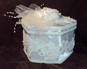 Wedding Keepsake Box/Trinket Box/Memory Box White Satin Handmade #120