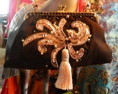 Vintage & Retro Handbags, Purses, Wallets, Bags Evening Bag Sparkling Lovely Pink Sequins n Pearls Cover the Front Handle is Soft Pale Pink Pearls Vintage Black Voile Black Jet Glass Beads $47.23 AT vintagedancer.com