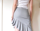 ON SALE Before 58 Dollars Pencil Skirt Asymmetrical Pleated grey color for women tailored style business clothing ruffles Rose Temple
