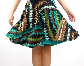 ZigZag Green Black Brown Emerald midi Skirt side pockets double knit fabric office clothing lady like fall winter spring summer Rose Temple