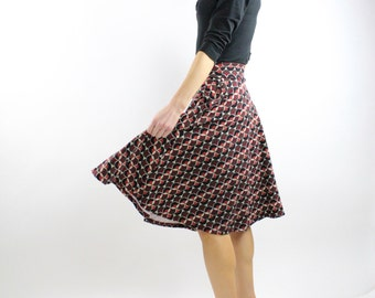 Brown Maroon Orange midi Skirt side pockets cotton spandex knit fabric office clothing lady like fall winter spring summer Rose Temple