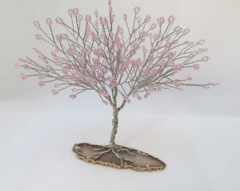 Pink Tree of Life, Pink and Silver Seed Bead Tree Centerpiece, Pink Cherry Blossom Tree Wedding Cake Topper, Pink Bonsai Tree Decor