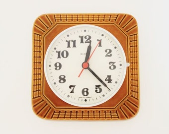 VintageGerman Ceramic Wall Clock in Golden Brown